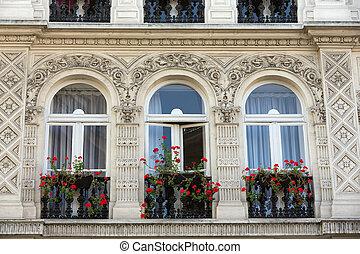 ファサド, の, 家, ∥で∥, バルコニー, 中に, montmartre., パリ, フランス