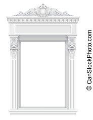 ファサド, クラシック, 建築である, 白, 窓枠