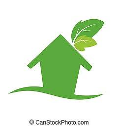ファサド, 家, エコロジー, leafs, 外面