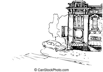 ファサド, 家, 古い, 自動車