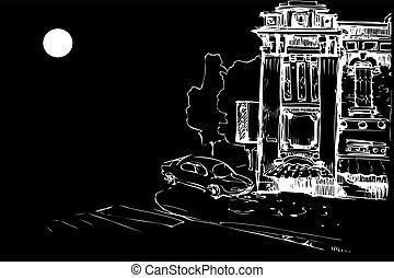 ファサド, 家, 古い, 自動車, 夜