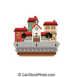 ファサド, 建物, 通り, カラフルである, 教会
