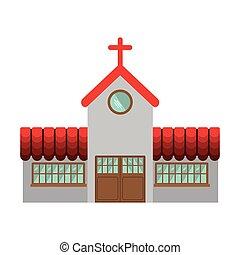 ファサド, 教会, デザイン, カラフルである, アイコン