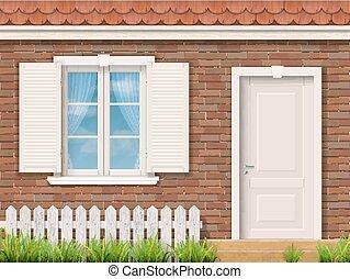 ファサド, 窓, 白, ドア, れんが