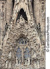 ファサド, familia, nativity, sagrada, 教会, バルセロナ, 細部