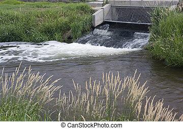 ファシリティ, 再生利用, 水, 流れること, 下水, から