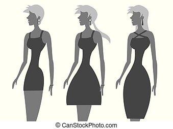 ファッションモデル, イラスト, ベクトル, 黒, 流行, 服