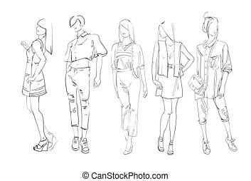 ファッション, コレクション, の, 衣服, セット, の, 男性の、そして女性の, モデル, 身に着けていること,...