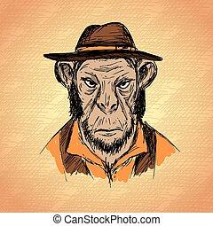 ファッション, サル, 手, 情報通, 引かれる, 肖像画