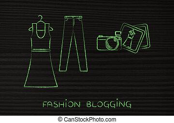 ファッション, ジーンズ, blogging:, イラスト, カメラ, 服