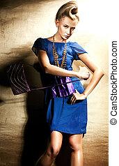 ファッション, スタイル, 写真, の, 美しい, ブロンド, 女性