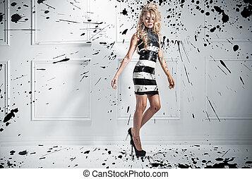 ファッション, スタイル, 写真, の, 美しい, ブロンド, 女