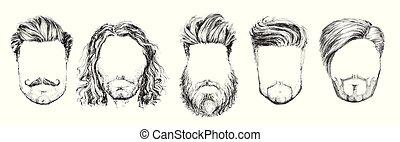 ファッション, セット, イラスト, 毛, ベクトル, あごひげ