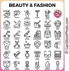 ファッション, セット, 美しさ, アイコン