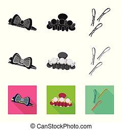 ファッション, セット, illustration., 美しさ, ベクトル, デザイン, 女性, icon., 株