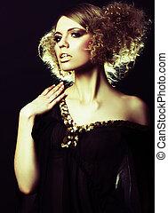 ファッション, チュニック, 巻き毛の髪, 黒, モデル