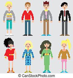ファッション, ピクセル, 人々