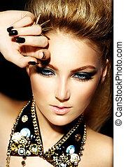 ファッション, ロッカー, スタイル, モデル, 女の子, portrait., ヘアスタイル