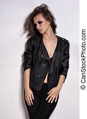 ファッション, ロッカー, スタイル, モデル, 女の子, portrait., hairstyle., ロッカー, ∥あるいは∥, 不良, 女性 化粧, ヘアスタイル, そして, 付属品
