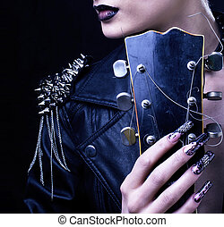 ファッション, ロッカー, スタイル, モデル, 女の子, portrait., hairstyle., 不良, 女性 化粧, ヘアスタイル, そして, 黒, nails., 煙が多い, 目