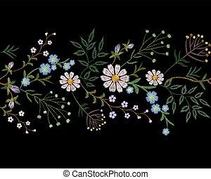 ファッション, 傾向, 華やか, デザイン, すみれ, ボーダー, 人々, 青, わずかしか, 花, 葉, 花, 刺繍, ハーブ, えりぐり線, イラスト, 背景, 花, chamomile., ブランチ, パッチ, 伝統的である, ベクトル, デイジー, 小さい