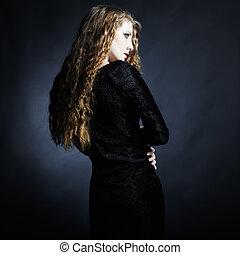 ファッション, 写真, の, 若い婦人, 中に, 優雅である, イブニングドレス