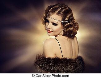 ファッション, 回転, 宝石類, 上に, 構造, 女, レトロ, 肖像画, モデル, 肩