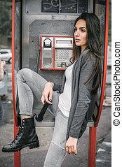 ファッション, 女性の話すこと, 中に, ∥, レトロ, 電話ボックス