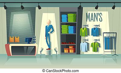 ファッション, 店, ブティック, 男性, s, マレ, 衣類