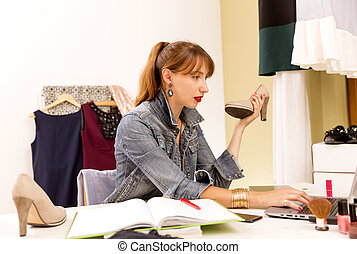 ファッション, 必需品, work., blogger, 現代, person., space., 創造的, 間接費