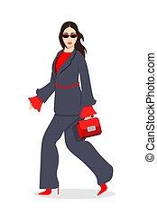 ファッション, 服を着せられる, -, イラスト, 女性, 最新流行である, 流行, 衣服, 女性