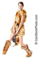 ファッション, 毛皮, 上に, ブーツ, コート, 白い帽子, woman: