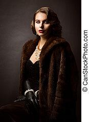 ファッション, 毛皮, 肖像画, 美しさ, 服を着せられる, 井戸, コート, 女, 贅沢, 作られた, 古い, モデル, 女性
