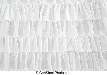 ファッション, 生地, ひだを取られた, クローズアップ, 白, スカート