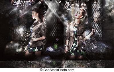 ファッション, 背景, モデル, 上に, sunrays, 最新流行である, 抽象的