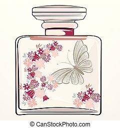ファッション, 花, 香水のビン, イラスト, ピンク