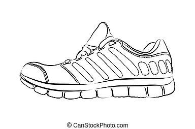 ファッション, 芸術, work., 引かれる, イラスト, 創造的, ベクトル, インク, sneakers., 実際, 手, 図画