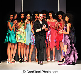 ファッション, 若い, デザイナー, ステージ