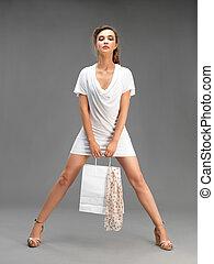 ファッション, 買い物, 若い女性, 肖像画, スタジオ