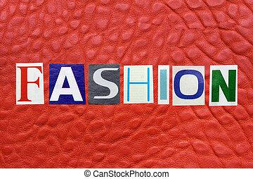 ファッション, 革, 概念, 単語, 背景