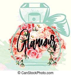 ファッション, 香水のビン, イラスト, ばら, ベクトル, ピンク