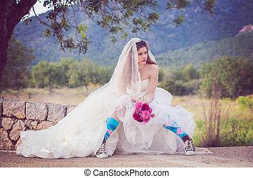 ファッション, bride., 若い, 逃亡