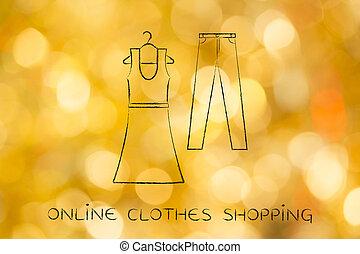 ファッション, choices:, ジーンズ, イラスト, 傾向, 服
