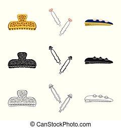 ファッション, illustration., 美しさ, オブジェクト, 隔離された, コレクション, ベクトル, 女性, icon., 株
