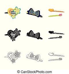 ファッション, illustration., 美しさ, コレクション, ベクトル, デザイン, 女性, icon., 株