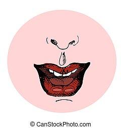 ファッション, illustration., lips., 手, ベクトル, 引かれる, 赤, sketch.