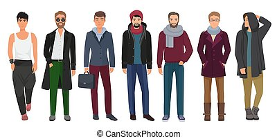 ファッション, illustration., set., 男性, clothes., ベクトル, 特徴, 最新流行である, 流行, マレ, 人, 漫画, ハンサム