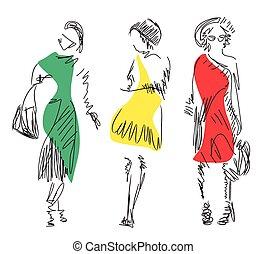 ファッション, models., sketch., ベクトル, イラスト