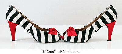 ファッション, shoes., pattern., 女性, シマウマ, かかと, 赤