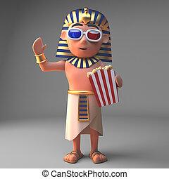 ファラオ, 監視, ポップコーン, 漫画, 映画, tutankhamun, イラスト, 3d, 食べること